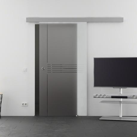 1025 x 2050 mm Glasschiebtür Siebdruck Idea-Design (I) Muschelgriff