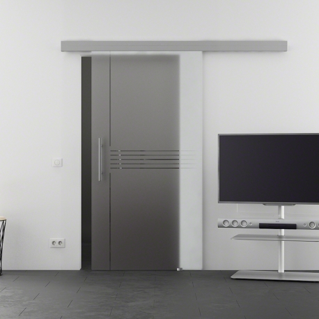 775 x 2050 mm Glasschiebtür Siebdruck Idea-Design (I) Stangengriff