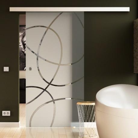 1025 x 2050 mm Glasschiebtür Siebdruck Ellipsen-Design Frankfurt (F) Muschelgriff
