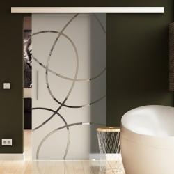 1025 x 2050 mm Glasschiebtür Ellipsen-Design Frankfurt (F) Stangengriff