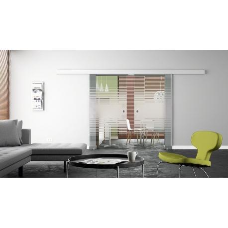 Glasschiebetür 2 Stk.  1025 x 2050 x 8 mm Siebdruck-Design Lamellen (L) Muschelgriffe