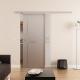 Glasschiebetür DORMA AGILE 50 Muschelgriff Siebdruck Idea-Design (I)