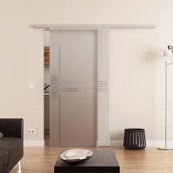 Glasschiebetür DORMA AGILE 50 Stangengriff Siebdruck Idea-Design (I)