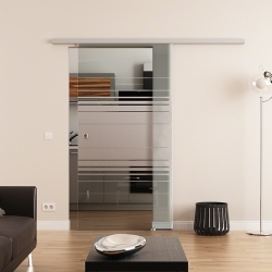775 x 2050 mm Glasschiebetür DORMA Muto 60 Muschelgriff  Horizont-Design (H)