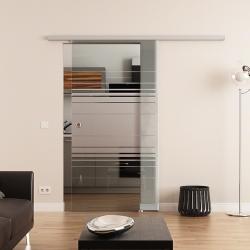 900 x 2050 mm Glasschiebetür DORMA AGILE 50 Muschelgriff Siebdruck Horizont-Design (H)
