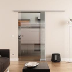 775 x 2050 mm Glasschiebetür DORMA Muto 60 Muschelgriff Lamellen-Design (L)