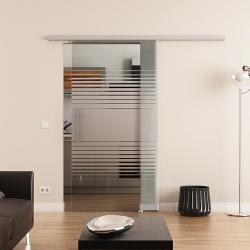 775 x 2050 mm Glasschiebetür DORMA Muto 60 Stangengriff Lamellen-Design (L)