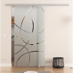 775 x 2050 mm Glasschiebetür DORMA Muto 60 Muschelgriff Ellipsen-Design Frankfurt (F)