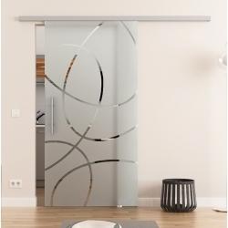 775 x 2050 mm Glasschiebetür DORMA Muto 60 Stangengriff Ellipsen-Design Frankfurt (F)