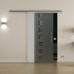 Glasschiebetür SoftClose-Schiene 900 x 2050mm Quadrat-Design (Q) Stangengriff
