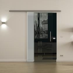 Glasschiebetür SoftClose-Schiene 900 x 2050mm Rekursiv-Design (R) Stangengriff - Levidor ProfiSlide