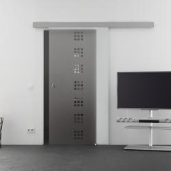1025 x 2050 mm Glasschiebtür Siebdruck Quadrat-Design (Q) Muschelgriff - Levidor Basic