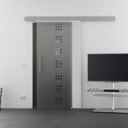 1025 x 2050 mm Glasschiebtür Siebdruck Quadrat-Design (Q) Stangengriff - Levidor Basic
