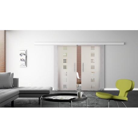 2 x 1025 x 2050 mm Doppel-Glasschiebtür Siebdruck Quadrat-Design (Q) Stangengriffe