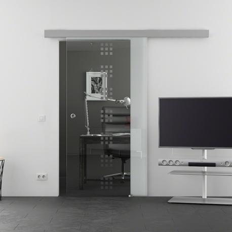 900 x 2050 mm Glasschiebtür Siebdruck Rekursiv-Design (R) Muschelgriff