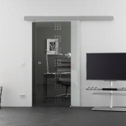 1025 x 2050 mm Glasschiebtür Siebdruck Rekursiv-Design (R) Muschelgriff - Levidor Basic