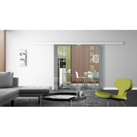 2 x 900 x 2050 mm Doppel-Glasschiebtür Siebdruck Rekursiv-Design (R) Muschelgriffe