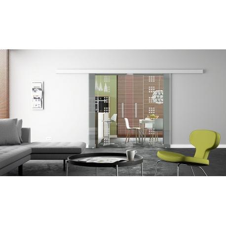 2 x 900 x 2050 mm Doppel-Glasschiebtür Siebdruck Rekursiv-Design (R) Stangengriffe