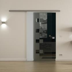 Glasschiebetür SoftClose-Schiene ProfiSlide Levidor 900 x 2050mm Würfel-Design (W)