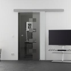 900 x 2050 mm Glasschiebtür Siebdruck Würfel-Design (W) Muschelgriff - Levidor Basic