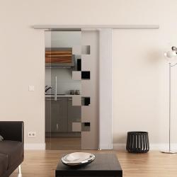 775 x 2050 mm Glasschiebetür DORMA Muto 60 Stangengriff  Würfel-Design (W)