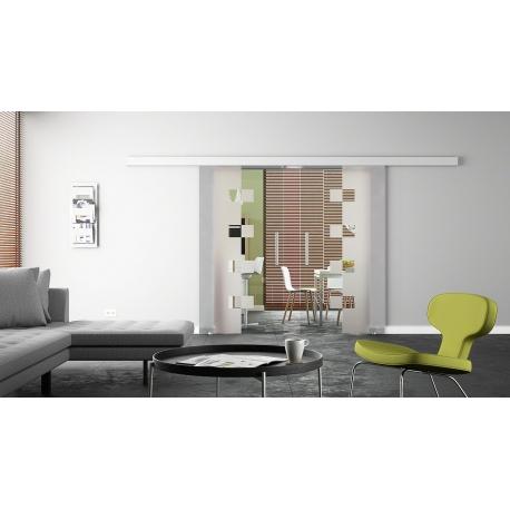 2 x 900 x 2050 mm Doppel-Glasschiebtür Siebdruck Würfel-Design (W) Stangengriffe
