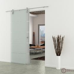 Glasschiebetür Edelstahl-Laufschiene Muschelgriff horizontal gestreift 1025 x 2050 mm