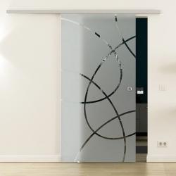 Glasschiebetür SoftClose-Schiene 900 x 2050mm Ellipsen-Design Frankfurt (F)