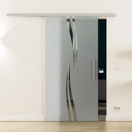 Glasschiebetür SoftClose-Schiene 900 x 2050mm Wellen-Design (A) Stangengriff
