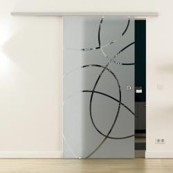Glasschiebetür SoftClose-Schiene 900 x 2050mm Ellipsen-Design (E)