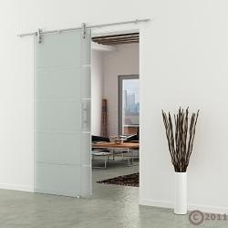 Glasschiebetür Edelstahllaufschiene Stangengriff horizontal satiniert gestreift 775 x 2050 mm
