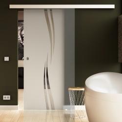 900 x 2050 mm Glasschiebtür Siebdruck Wellen-Design (A) Muschelgriff - Levidor Basic