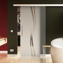 1025 x 2050 mm Glasschiebtür Siebdruck Wellen-Design (A) Stangengriff - Levidor Basic