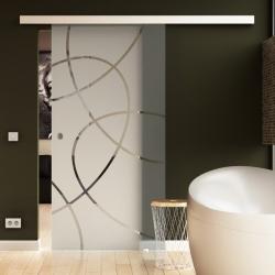 1025 x 2050 mm Glasschiebtür Ellipsen-Design (E) Muschelgriff