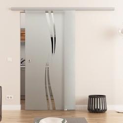 775 x 2050 mm Glasschiebetür DORMA Muto 60 Muschelgriff  Wellen-Design (A)