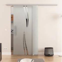 775 x 2050 mm Glasschiebetür DORMA Muto 60 Stangengriff Wellen-Design (A)