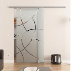 775 x 2050 mm Glasschiebetür DORMA Muo 60 Muschelgriff Ellipsen-Design (E)