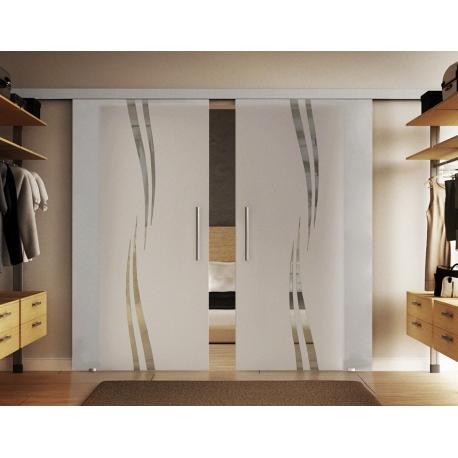 2 x 900 x 2050 mm Doppel-Glasschiebtür Siebdruck Wellen-Design (A) Stangengriffe