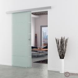 Schiebetür Glas 900 x 2050 mm | Griffmuschel Edelstahl