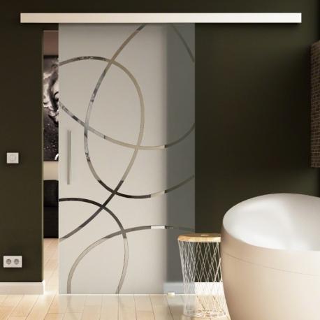 775 x 2050 mm Glasschiebtür Siebdruck Ellipsen-Design Frankfurt (F) Stangengriff