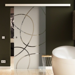 900 x 2050 mm Glasschiebtür Ellipsen-Design Frankfurt (F) Muschelgriff