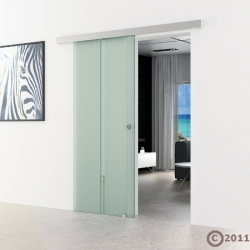 900 x 2050 mm Glasschiebtür senkrecht satiniert Muschelgriff