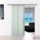 775 x 2050 mm Schiebetür Glas Stangengriff Edelstahl