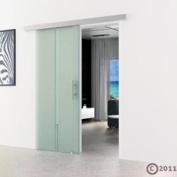 900 x 2050 mm Schiebetür Glas Stangengriff Edelstahl
