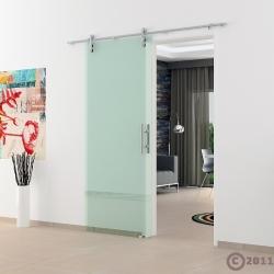 775 x 2050 x 8 mm Glasschiebetür Klarglas Stangengriff - Levidor offene Laufrollen-System