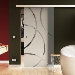 1025 x 2050 mm Glasschiebtür  Circle-Design (C) Muschelgriff