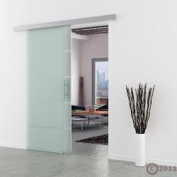 Schiebetür Glas 775 x 2050 mm  Griffmuschel Edelstahl - Levidor Basic