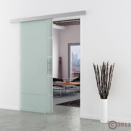 Schiebetür Glas 775 x 2050 mm | Griffmuschel Edelstahl - Levidor Basic