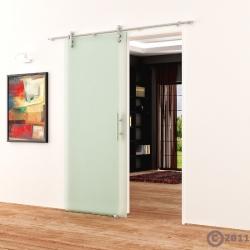 Ganzglasschiebetür 900x2050 Satino Edelstahlsystem Stangengriff