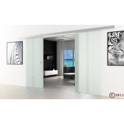 Doppel-Glasschiebetür 2 x 1025 x 2050 mm senkrecht gestreift, SoftClose Optional
